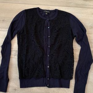 Navy blue cardigan  with black lace overlay